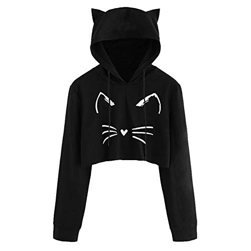 Sunhusing Women Long Sleeve Cat Ear Hooded Pullover Solid Color Short Drawstring Sweatshirt (L, 1 Black) ()