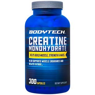 BodyTech 100 Pure Creatine Monohydrate 2250 MG Supports Muscle Strength Mas, 100 Servings (300 Capsules)