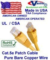 Yellow Made in USA Ethernet Network Patch Cable SuperEcable USA-0679-24 Ft UTP Cat5e UL 24Awg Pure Copper