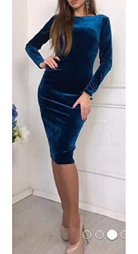 Womens Bodycon Jaycargogo Blue Dress Stretch Velvet Sleeve Solid Long t1dnxq8wrd