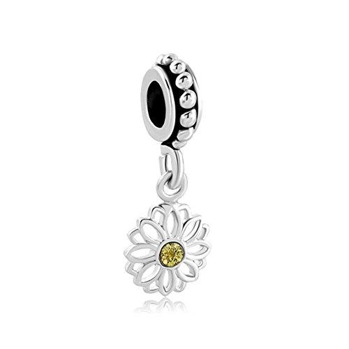 LilyJewelry Daisy Flower Dangle Charm Bead Fits European Snake Chain Bracelets