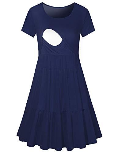 JOYMOM Maternity Round Neck Short Sleeve Nursing Dress Breastfeeding Clothes