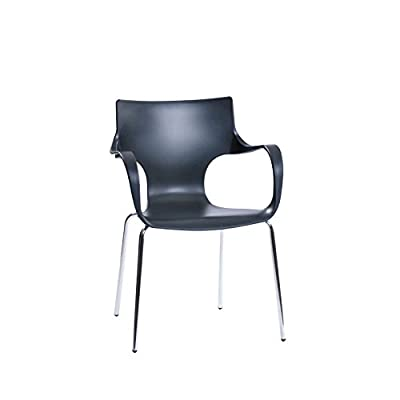 Mod Made Modern Contermporary Phin Arm Chair Dining Chair, Black, Set of 2 - Durable and easy to maintain Plastic with chromed steel legs Stackable for easy storage - kitchen-dining-room-furniture, kitchen-dining-room, kitchen-dining-room-chairs - 31N54FNwp0L. SS400  -
