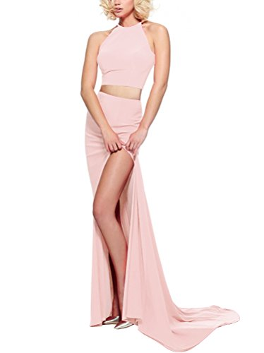 Ausschnitt Dehnbar Pink Meerjungfrau Abendkleid Lange Frauen Hot Rot Hoher gZdaqPwE