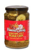 Famous Dave's Signature Spicy Pickles 24oz Glass Jar (Pack of 3) (Pickle Chips) ()
