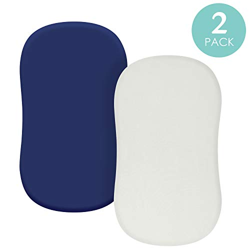 TILLYOU Jersey Knit Soft Bassinet Sheets Set, 32x16 Flexible for Different Cradle and Bassinet Mattress, Super Soft Breathable Cozy Baby Cradle Sheets, 2 Pack Navy Blue & Lt Gray