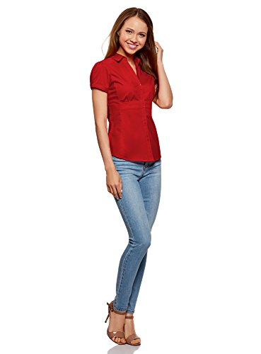 a Colletto oodji Donna Scollo con Camicia Rosso Punta Ultra a V 4500n e qgw8qzBW