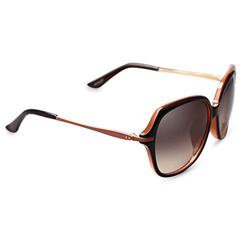 YONGLIANG Outdoor-Produkte Sonnenbrille Frauen UV Große Box Beine Runde Gesicht Elegante Fahren Sonnenbrille Strand Reise Obligatorisch (Color : Dark brown) (Sonnenbrille Für Große Gesichter)