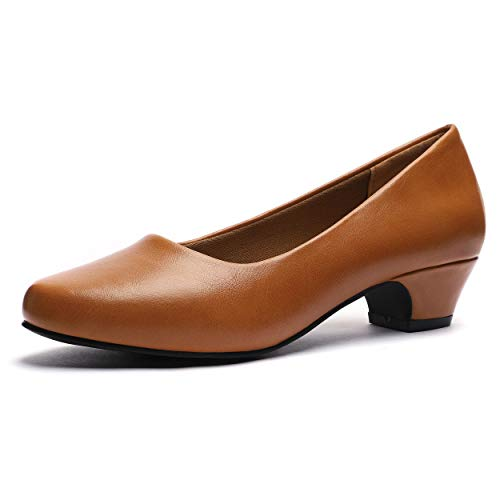GUCHENG Chunky Heels Pumps Low Shoes Women's - Dress Ladies Heel Comfortable - Formal Width Black Brown White Wedding Shoes (11 M US, Camel