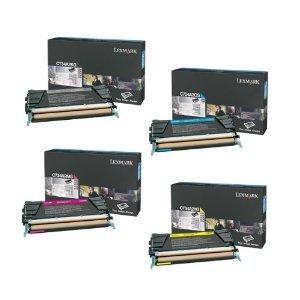 Lexmark C734 4-Pack Genuine Return Program Toner Cartridge Combo Set. C734A1KG Black, C734A1CG Cyan, C734A1MG Magenta, C734A1YG Yellow, ()