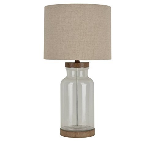 Allen + Roth Edensley 25.25-in Glass Table Lamp with Fabric (Fabric Shade Glass)