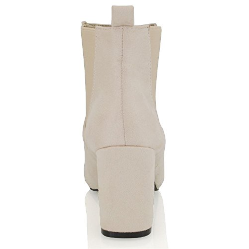 High Elasticated Boots GLAM Synthetic Heel Beige Suede Chelsea Faux Block Womens ESSEX taWIgqwxft