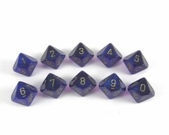 Chessex Dice Sets: Borealis Royal Purple with Gold - Ten Sided Die d10 Set (10)