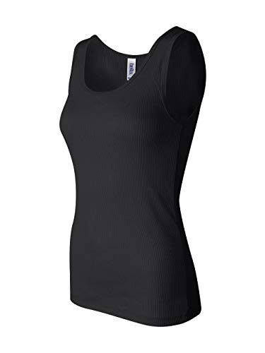 Bella Ladies Combed Ringspun Cotton 2x1 Rib Tank Top - Black - Medium