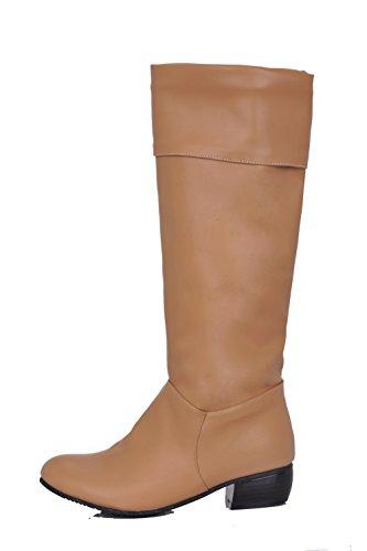 Damen Aprikosen Rund Rein Ziehen Niedriger Absatz AgooLar Farbe auf Zehe Stiefel FAdPxq