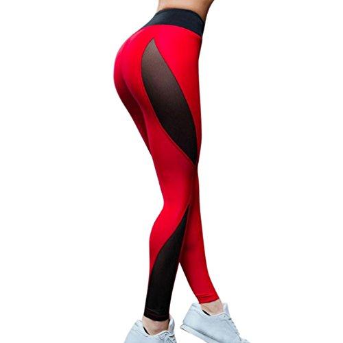 Goddessvan Women Mesh Panel Side High Waist Leggings Skinny Workout Yoga Pants Athletic Trouser (XL, - 77cm Inch