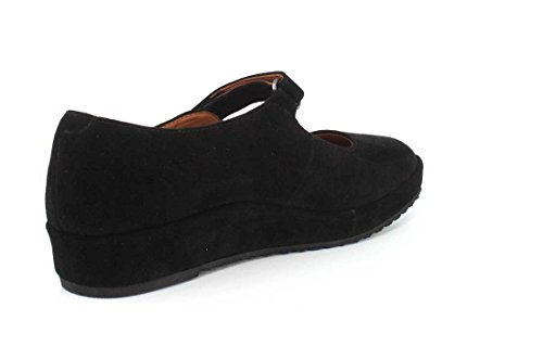 L`amour Fötter Cornelie Womens Mary Jane Wedge Svart Mocka