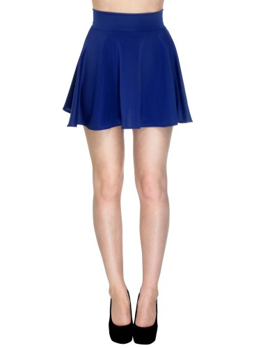 Simplicity Sexy and Flared Skater Skirt with a Slimming High Waist, Royal Blue M