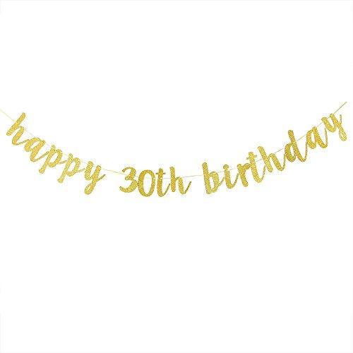 (Karoo Jan Happy 30th Birthday Banner Gold Glitter Hello 30 Hang BuntingBirthday Party Decorations)