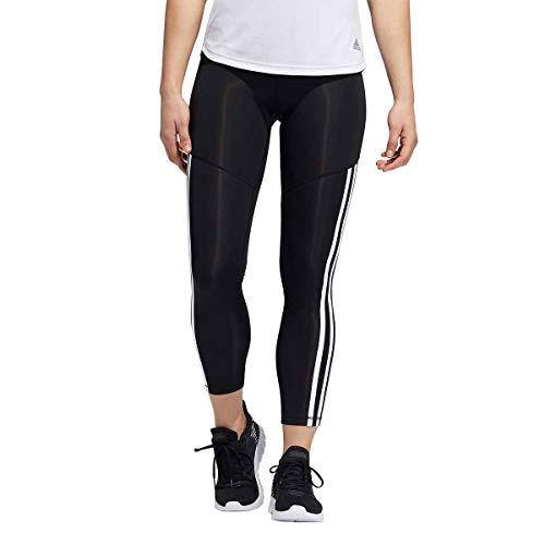 adidas Womens 3 Stripe 7/8 Tights (Black/White Stripe, Large)