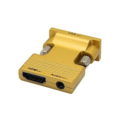 HDMI Female to VGA Male and 3.5mm Audio Out Adapter for PC LCD , golden