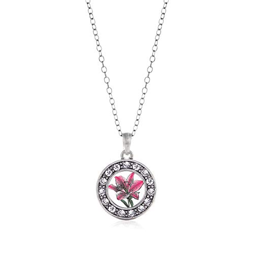 Inspired Silver - Lily Flower Charm Necklace for Women - Silver Circle Charm 18 Inch Necklace with Cubic Zirconia Jewelry
