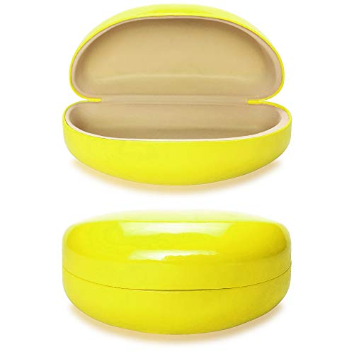 Yulan Hard Shell Sunglasses Case,Classic Extra Large Case for Oversized Sunglasses and Eyeglasses(Yellow)