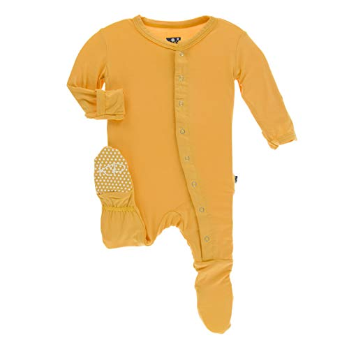 (Kickee Pants Little Boys and Girls Solid Footie with Snaps - Marigold, Newborn)