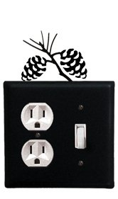 Pinecone Double Outlet - EOS-89 Pinecone Single Outlet Single Switch Electric Wall Plate with Silhouette