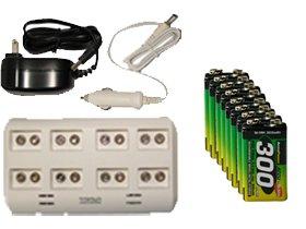 8ベイ9ボルトスマートバッテリ充電器8 x 9ボルト300 mAh AccuPower NiMH充電式電池   B00MDW90Z4