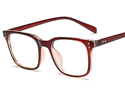 Erokku Blue Light Blocking Glasses Computer Gaming Glasses for Blocking UV Light Headache, [Anti Eye Eyestrain-Anti Blue Ray] Transparent Lens, Ultra Light Weight Frame Unisex (Men/Women) (Red Oak)