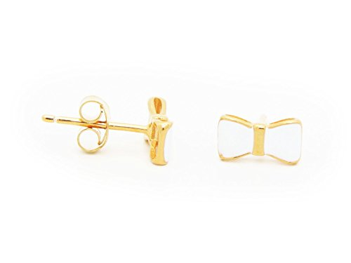 Beckids White Enamel Bow Stud Earrings for Girls in Gold Plated Sterling Silver