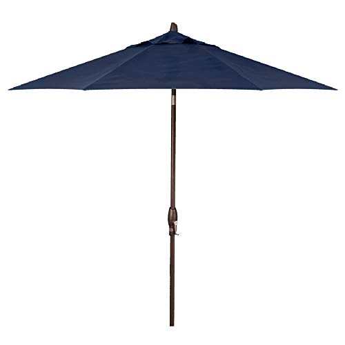 Treasure Garden 11-Foot (Model 812) Deluxe Auto-Tilt Market Umbrella with Bronze Frame and Obravia2 Fabric: Navy