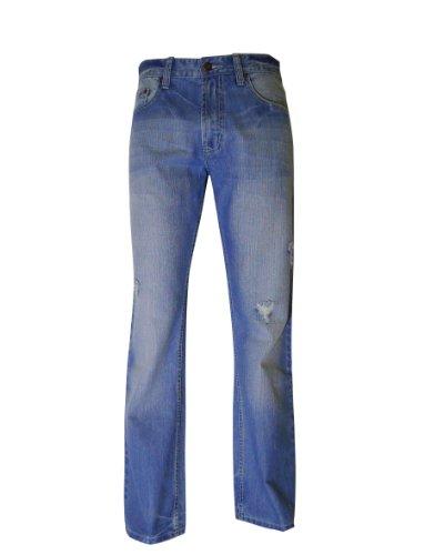 (Flypaper Men's Fashion Bootcut Blue Jeans Regular Fit Mens Work Pants Lt Wash 33W x 30L )