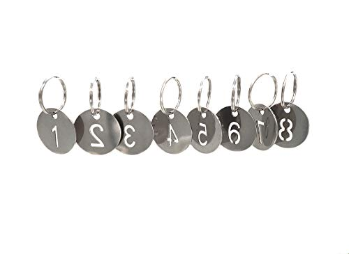 - 304 Stainless Steel Key Tags with Ring 10 pcs, 25mm Hollowed Number ID Tags Key Chain, Numbered Key Rings - 1 to 10