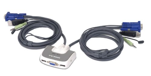 IOGEAR 2-Port Miniview Micro VGA USB PLUS KVM Switch with Audio and Cables, GCS632U