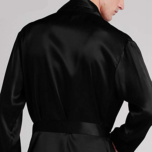 Longo Manica Pure Gown Bath Dressing Men 100 Silk Sleepwear Navy Luxury Lunga Blue 22 Natural 35cjq4RLA