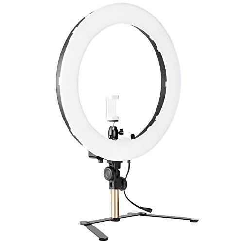 Neewer 14-inch Outer Dimmable Tabletop Ring Light Kit for Photo Studio Portrait Video Shooting, Includes: 5500K SMD LED Dimmable Ring Video Light, Support Bracket, Ball Head, Phone Holder (US/EU Plug)