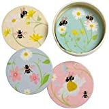 Chintz Floral Flower and Bee Happy Round Ceramic Coasters and holder