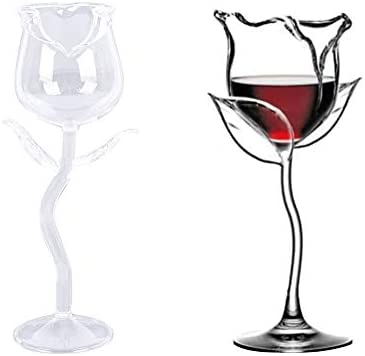 Rose Flower Shape Cocktail Glass,Hand Blown Italian Style Crystal,Rose Flower Shape Wine Glass for Party Dinner Wedding Festival Couple (2PCS)