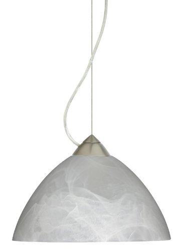 Besa Lighting 1KX-420152-LED-SN 1X6W GU24 Tessa LED Pendant with Marble Glass, Satin Nickel Finish