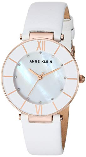 Anne Klein Women's AK/3272RGWT Swarovski Crystal Accented Rose Gold-Tone and White Leather Strap Watch
