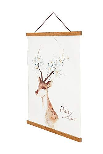 Magnetic Poster Hanger Frame 18x24 18x12 18x28 Light Wood Wooden Magnet Canvas Artwork Print Dowel Poster Hangers Frames Hanging Kit Teak Wood 18