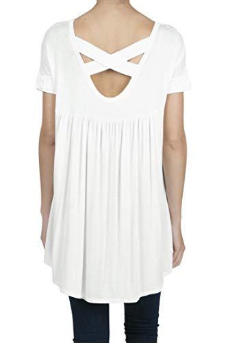 SHOP DORDOR 9045 Women's Short Sleeve V-Neck High Low Criss Cross Back Tunic Tops OFFWHITE M ()