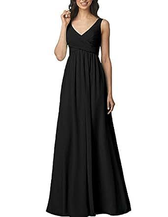 Kevins Bridal Wemen's V-Neck Prom Party Dresses Floor Length Evening Dress Black Size 2