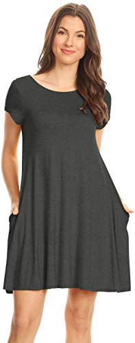 Simlu Womens Loose T Shirt Dress with Short Sleeves, Trapeze Dress with Pockets,Charcoal,Small ()