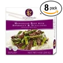 FEEL GOOD FOODS Entre Mongolian Beef with Asparagus, 9 Ounce (Pack of 8) KEHE (Dropship)