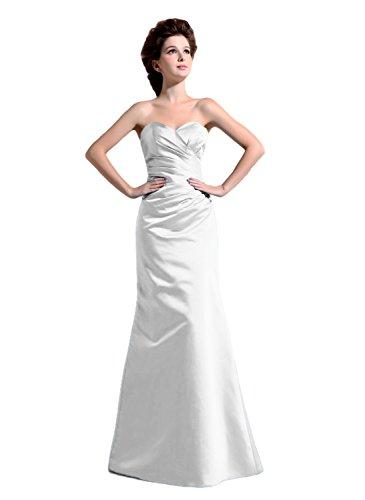 Bridal_Mall - Robe - Trapèze - Sans Manche - Femme -  Blanc - 48 plus