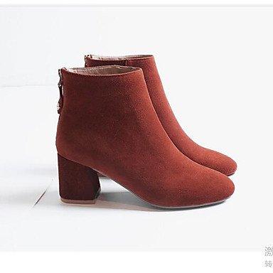 Botas Señaló Rojo Cowhide Zapatos Botines Ejército De CN34 Negro RTRY La Mujer EU35 US5 Botas Moda Para Talón Chunky El Verde UK3 Toe Caída Botines Casual De qfCxtwtz7