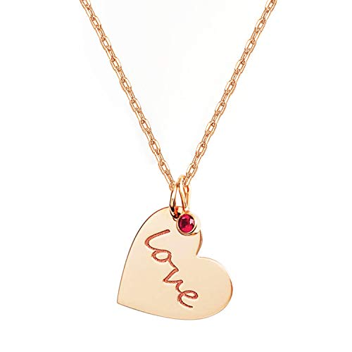 PAVOI 14K Rose Gold Plated Heart Necklace with Swarovski Love Charm Pendant | Rose Gold Necklaces for Women 14k Ruby Heart Pendant